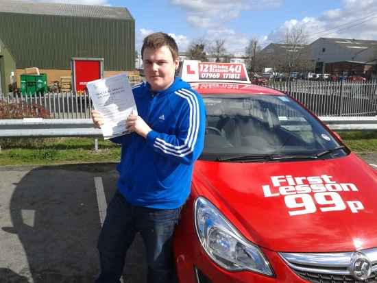 passes his driving test first time after only 8 lessons - outstanding March