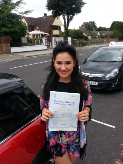 Chloe passed in Hornchurch After being involved in a car accident 5 minutes before her first test she held her nerve second time to get a fantastic result Enjoy your driving Chloe