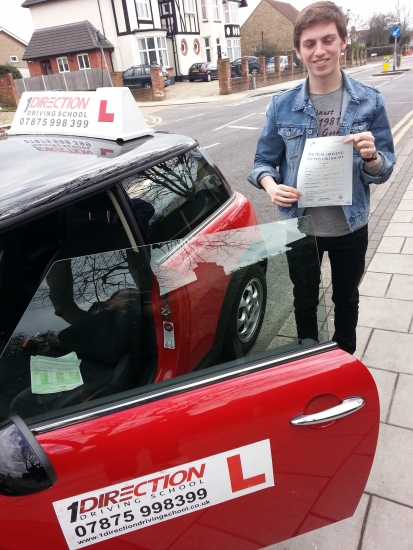 Tom Quinlan passed first time in Hornchurch Glad you kept your eyes open on your test unlike the photo
