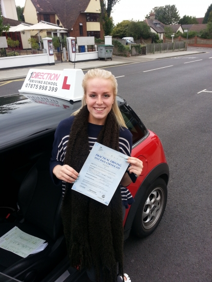 Sarah passed first time in Hornchurch She drove brilliantly to secure the much needed pass Enjoy driving to the airport