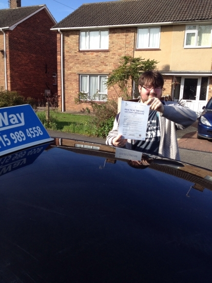 Passed on 9th April 2014 at Colwick Driving Test Centre with the help of his Driving Instructor Paul Fleming