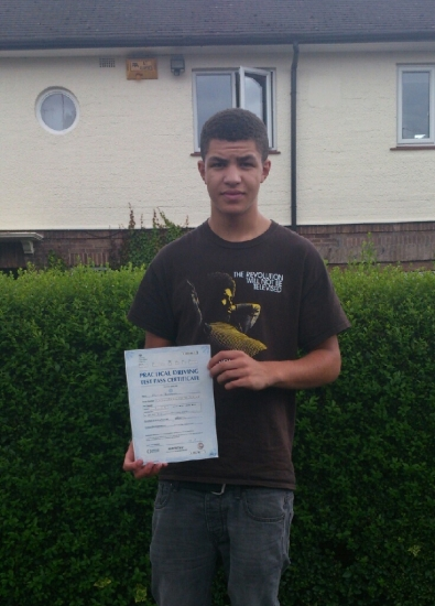 Passed on 30th July 2013 at Colwick Driving Test Centre with the help of his Driving Instructor Alex Sleigh