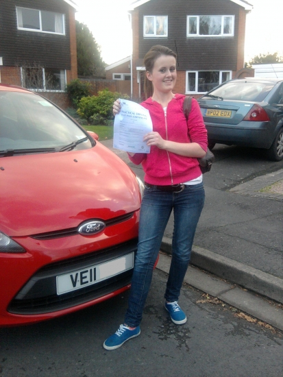 Congratulations Kate a well deserved pass with only 3 minor faults Good luck with the teacher training at Derby See you when you return to Worcester to do a Pass Plus course Drive Safe