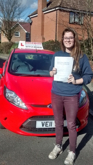 Congratulations Bobbie Passed your driving test today with only 4 minor faults Well done all the best for the future at Uni Drive Safe