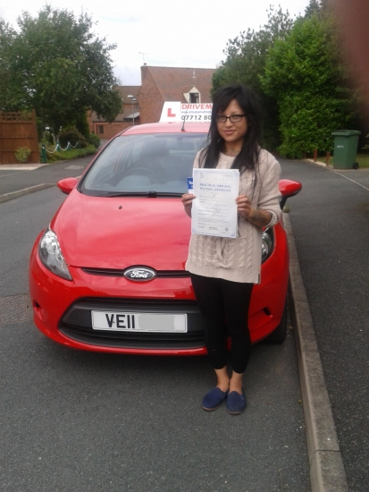 Well done Lynda on passing your driving test first time today Even though you were very nervous you did it Drive Safe
