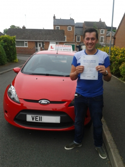 Well done Steve on Passing your driving test today Take it easy mate and Drive Safe