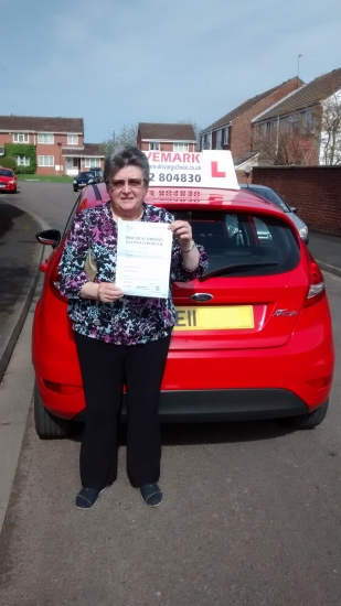 Congratulations Sue Passed your test first time today Told you that you would get there even though you thought you never would Its been a pleasure to teach you DriveSafe <br />