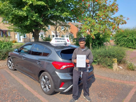 Massive well done today for Moses Jeykumar, passed his test in Sunderland with his instructor Graham Spensley with only 2DF, Stay Safe and keep up the good standard.