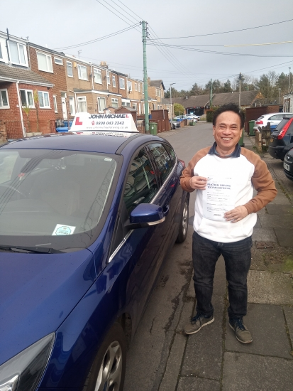Ah look at Cecilio Lumagod!! He's so pleased � he just passed his driving test with our instructor Chris at  Blyth.