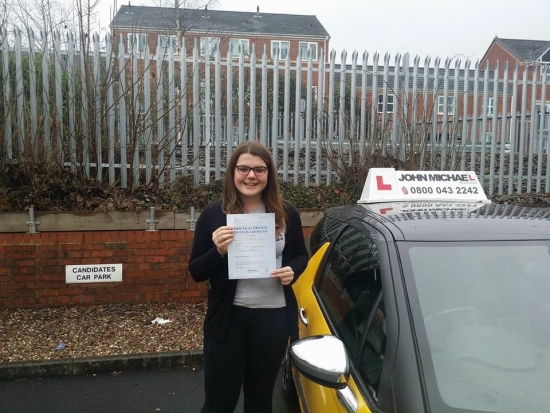 Well done Amy Passed her test today in Redditch with our instructor Jon Stevenson