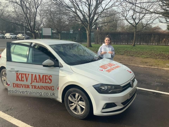 Brilliant drive Asha. Well Done! 22nd January 2020 at Derby Test Centre