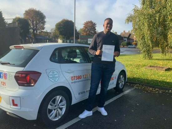 Great Driving Tom. Congratulations. 18th October 2019 at Watnall Test Centre