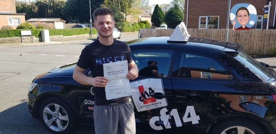 *** Many Congratulations Matt, From All Of Us At cf14 School Of Motoring ***<br /> <br /> With just 1 minor, Passing in Cardiff today  - what a great result. Fantastic drive - all you need now is a van to get you around in work. Well Done Mate!