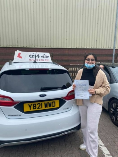 Congratulations to Arooba who passed her practical driving test in cardiff today with only 3 driver faults and can now drive herself to Uni - stay safe xx