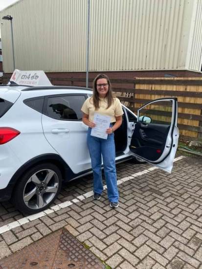 Congratulations Ffion on passing your practical driving test in cardiff today on your first attempt- safe journey back to Plymouth and hopefully the navy will have a ship for you to join soon - drive safe xx