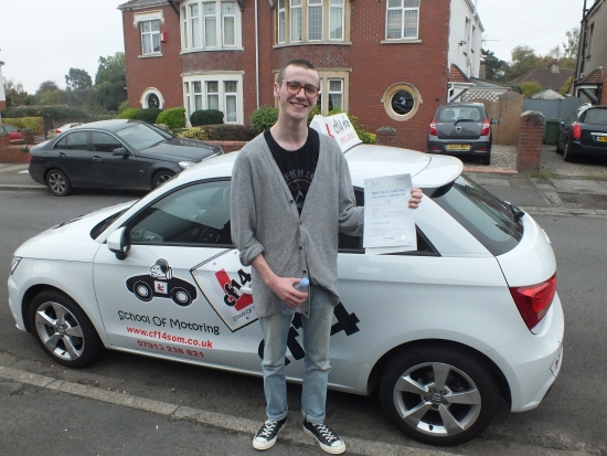 Many Congratulations Rhys, I must say you PASSED first time in just 20hrs, but you were so laid back you took those hours over 14 months, the longest 20hrs I have taught over such a period. You could have nailed this ages ago, but fair play, you took your time and I must admit, a damn good driver. Well Done, Barry