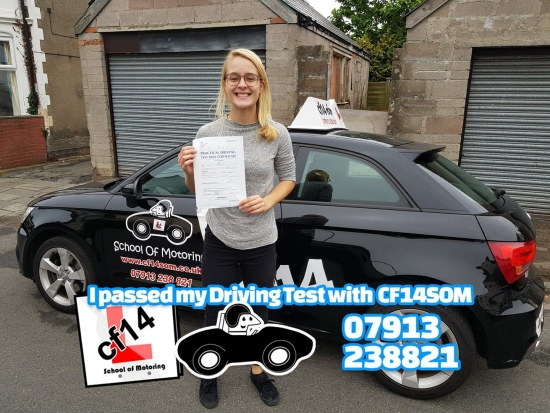 Many Congratulations Seren, Passing In Cardiff Today, With Fab Drive! <br /> Cardiff´s Loss - Scunthorpes Gain, Enjoy Your New Job, And WELL DONE again — feeling happy.