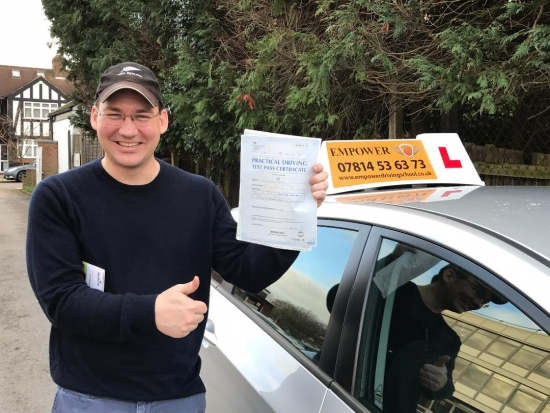 Thank you so much for your help! There is no way I would have passed my test on my first try without your patient guidance and instruction! I will definitley recommend you to any other Americans trying to make the change to London driving!!<br /> <br /> Thank you