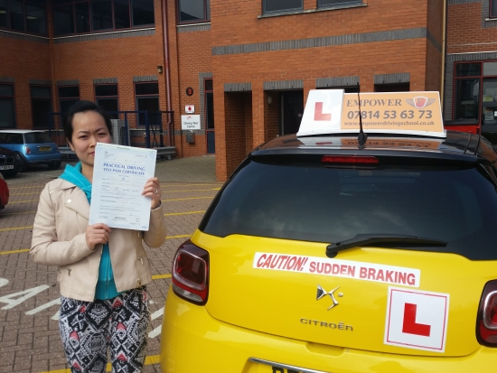 Iacute;ve just passed my driving test first time with only one minor and I wouldnacute;t have been able to have done it without my instructor Kal He was very patient and his constant encouragement was what earned me my certificate Thank you so much Tuyet