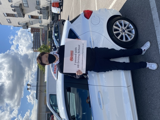 Congratulations goes to Sharna For passing her test first time at Sale on 6th May 2021