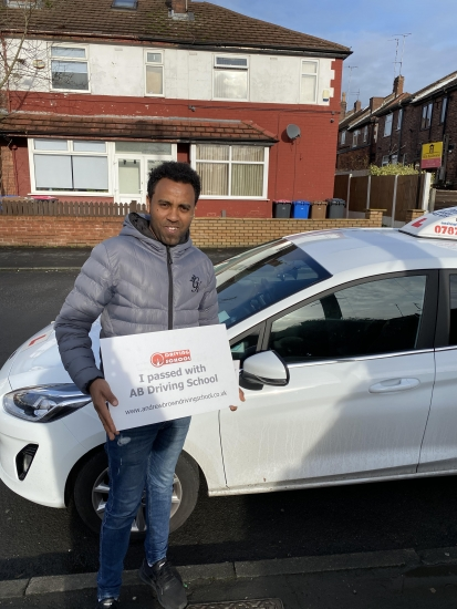 Well done to Abrehaley for passing his practical test in Sale on 27/1/20.