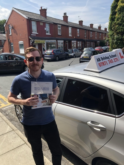 Congratulations goes to Andrew Ryan for passing his practical test in Cheetham Hill on 25/7/18.