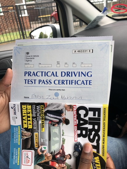 Well done to Eddy for passing his practical test in Sale today.