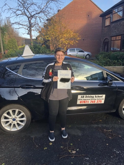 Well done to Katie for passing her practical test in Bolton.