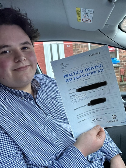 Well done to Sam for passing first time at Cheetham Hill on 22/1/20