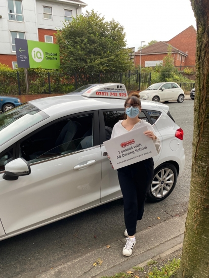 Well done to Shannon for passing her test first time at Cheetham Hill on 22/9/20.