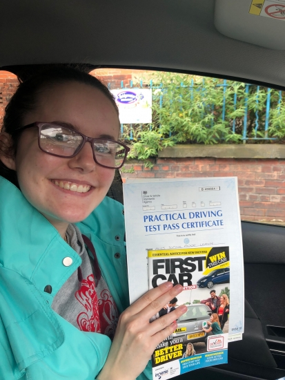 Well done Sophie for passing your practical test at Cheetham Hill on 19/6/19.