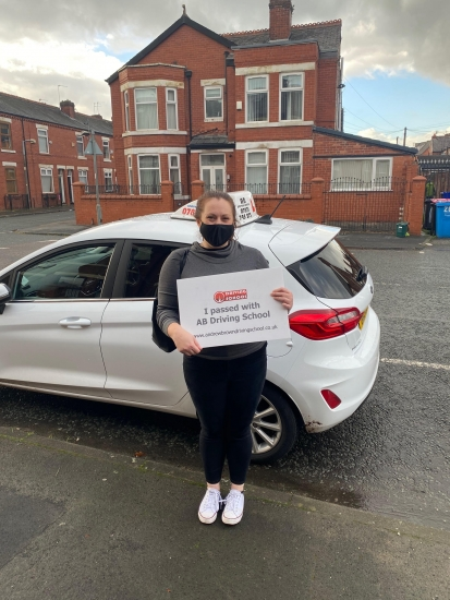 Well done to Stephanie for passing her practical test first time at Cheetham Hill on the 4/11/20