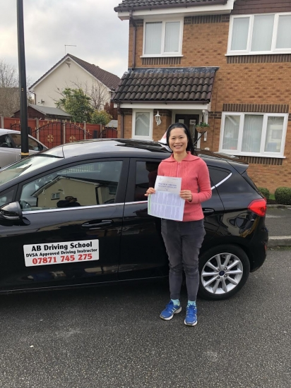 Congrats to Valerie for passing her practical test at Sale first time.  Well done.