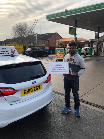 Well done to Yasoraj for passing his practical test at Cheetham Hill first time on 2/12/19.  Thanks also for the pressie.