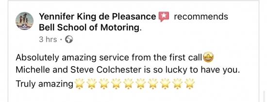 FANTASTIC REVIEW for Bell School of Motoring Team