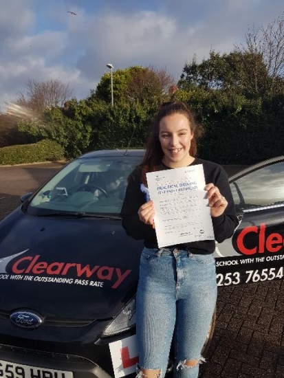 I just wanted to say a big thank you to Fred for being such a great driving instructor.  He was always patient and put me at ease when I got in the car.  He would never hesitate to ask if I wanted to go over anything that I was struggling with.  All round it was a great experience and I would highly recommend Clearway to anyone.  Passed 23rd December 2019.