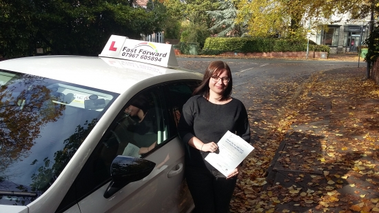 congratulations on passing test. a great effort .be safe