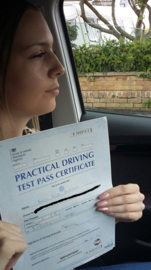 well done Katie on passing 1st time today. only 3 minors .An excellent result