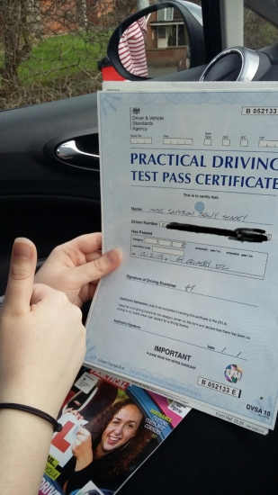 well done on passing test. shame you are camera shy . well done could not be happier for you