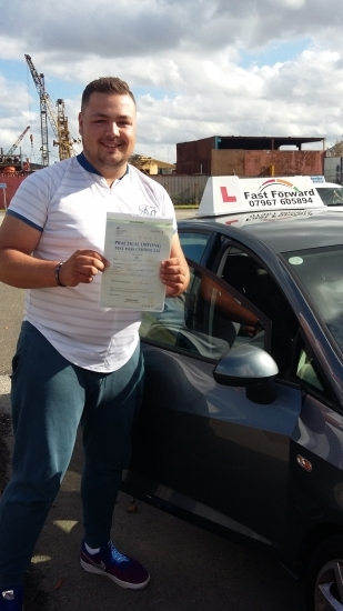 Well done on passing your driving test make your own way to work now Be safe