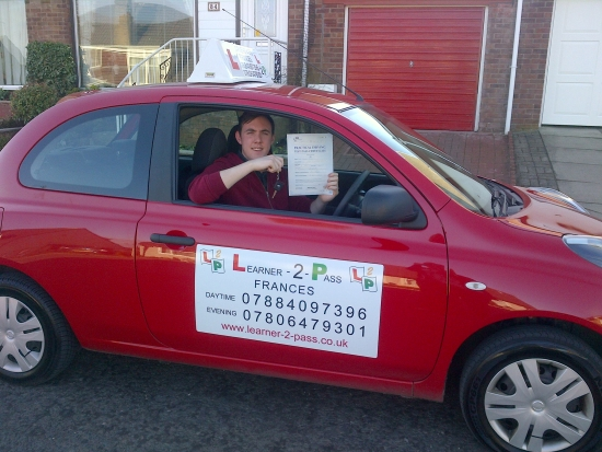 THANKS TO FRANCES I PASSED 1st TIME AND ONLY GOT 1 MINOR BRILLIANT INSTRUCTORVERY HELPFUL AND VERY FRIENDLY AND OVERALL WAS A BRILLIANT EXPERIENCE BEING TAUGHT BY HER OVER THE LAST MONTHS THANK-YOU