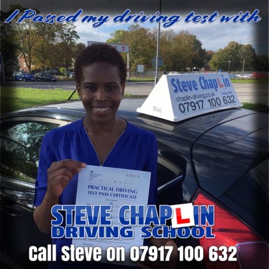 Yvonne Marangwanda from Nottinghamshire PASSED on 04/10/2018 at Watnall Driving Test Centre