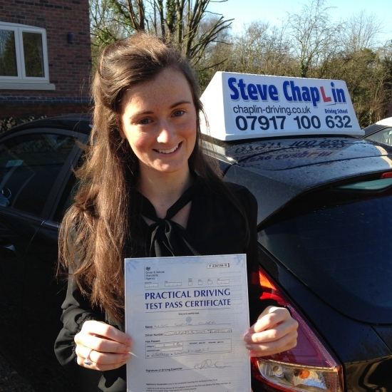 Sophie Clark from Ilkeston PASSED on 25/03/2016 at Watnall Driving Test Centre