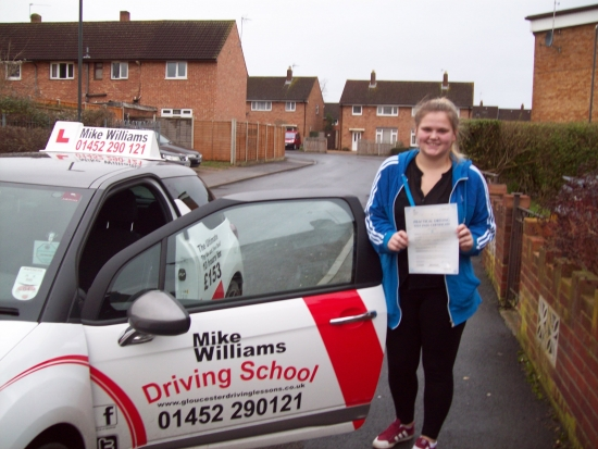 Congratulations to Hannah Baker of Gloucester who Passed her Practical Driving Test in Gloucester<br /> <br /> A very good drive throughout the Driving Test and a well deserved Pass<br /> <br /> Now itacute;s a more comfortable and safer journey to work in the mornings on that horrible road to Cheltenhamand now you get to arrive in nice dry clothesbonus<br /> <br /> Best Wishes for the future from Driving Instru