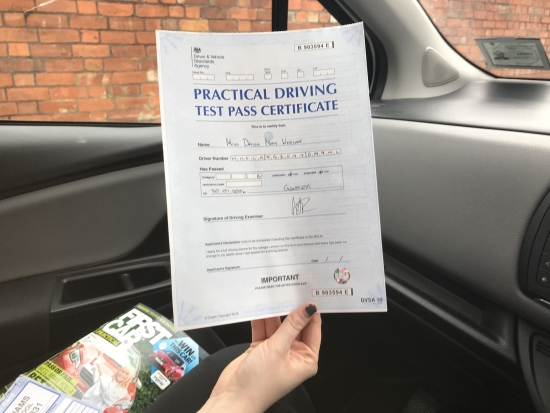 who passed her driving test at the 1st attempt.