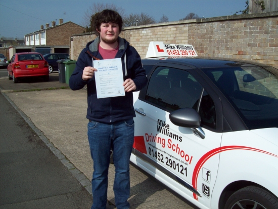Congratulations to Tom Gennaio of Gloucester who passed his Practical Driving Test in Gloucester<br /> <br /> A few nerves during your warm up hour seemed to disappear as soon as you got in the car with your examiner…and you drove beautifully The pastilles really worked a treat<br /> <br /> I really hope you get a 'set of wheels' real soon…Ferrari for the Italian in you<br /> <br /> Once again many congratula
