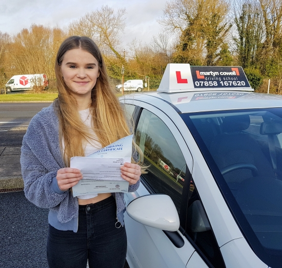Congratulations Christie on passing your test First time today in Newbury. December 2019