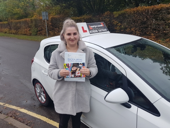 Congratulations Jasmine on passing today in Salisbury Oct 2019