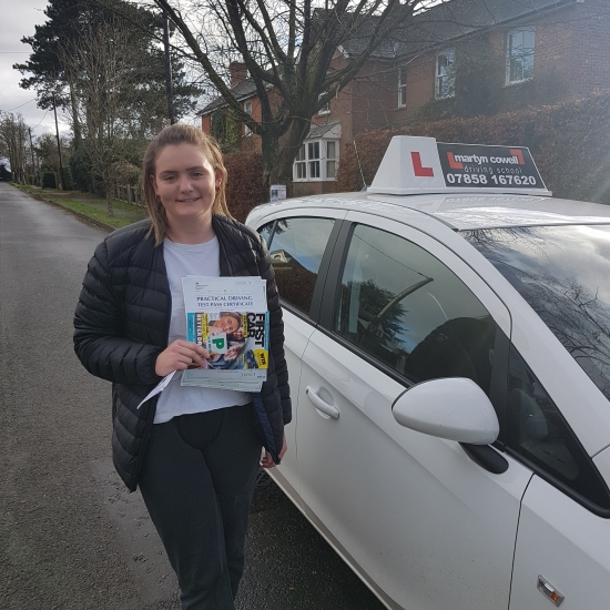 Congratulations Molly on passing first time in Winchester - December 2018