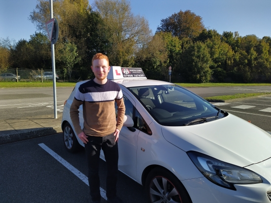 Congratulations Thomas on passing your Driving Test today 1st Time in Newbury October 2020
